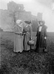 Victorian excursionists outside Tantallon Castle