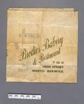 Paper bag, used by Brodie's Bakery, North Berwick, around 1900