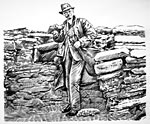 Skara Brae: Site Tour: drawing of Professor Childe at Skara Brae