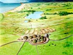 Skara Brae: A Living from the Land: illustration of Skara Brae, around 3000 BC