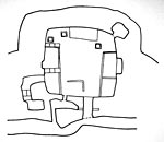 Skara Brae: Shelter: drawing of replica house