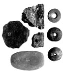 Spindle whorls, pottery sherds, hammerstone and blank from Coalhill, near Dalry, Ayrshire