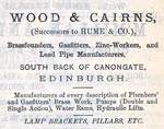 Advertisement for Wood & Cairns, South Back of Canongate