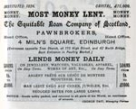 Advertisement for Equitable Loan Company, 4 Milne Square