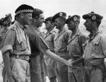 Anthony Eden greeting Argyll and Sutherland Highlanders during a visit to Palestine