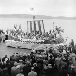 Lerwick 'Up-Helly-Aa' committee aboard their Norse Galley Replica