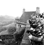 Army pipers at Scotland's School of Classic Bagpipe Playing, Edinburgh Castle, 1946