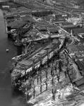 Aerial view of the liner 'Queen Mary' under construction at Clydebank docks, 1935