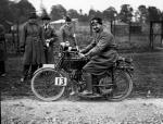 A. Karslake competing in the Motor Cycle Club London to Edinburgh race in 1923