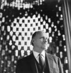 Architect Sir Basil Spence inside one of his designs, Coventry Cathedral