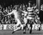 Billy Bremner and Gerry Francis playing in a Leeds United v Queen's Park Rangers match