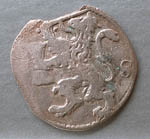 Coin, double stuiver from Daventer, Netherland, found Cromarty