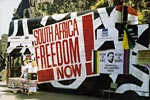 Anti-Apartheid Movement Freedom Bus with Edinburgh Group banner