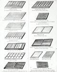 14 typecases, showing various arrangements and prices, from a manufacturer's brochure