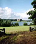 View of Linlithgow Palace situated on a promontory on the south side of Linlithgow Loch, West Lothian