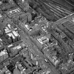 Aerial view of Royal Mile between St Giles and Tron from the southeast