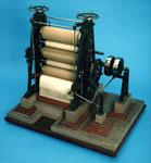 Model, of a cloth calendering machine