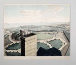 Aquatint, panorama of Edinburgh from tower of Calton Hill observatory