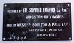 Plaque, for Sopwith Camel