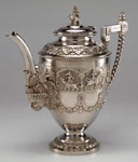 Silver coffee pot made in india, 1896 - 1906