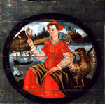 Ceiling panel from Dean House, Edinburgh - showing the Sense of Sight