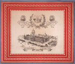 Handkerchief with a print of the Melbourne Exhibition of 1880