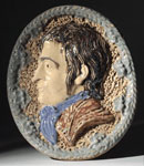 Earthenware plaque with a portrait of Robert Burns