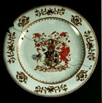 Porcelain plate with the arms of the Earl of Buchan