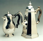 Coffee pot and hot milk jug, made in Edinburgh