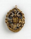 Gold enamelled locket