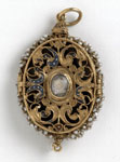 Gold locket with miniatures of Mary, Queen of Scots and James VI