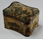 Tea caddy of painted tin
