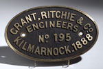 Works plate from a railway crane made in Kilmarnock, Ayrshire