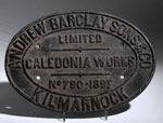 Works plate from a locomotive made in Kilmarnock, Ayrshire