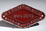 Works plate from a railway wagon made in Wishaw