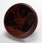 Circular wooden snuff box