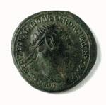 Coin (obverse), an orichalcum sestertius of Trajan