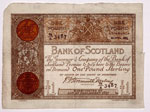 Banknote, One Pound, Issued by the Bank of Scotland