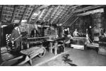 View of interior of machine shed at brick and tile works, Blackpots, Aberdeenshire