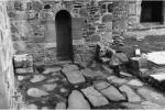 View of Early Christian grave-slabs inserted into pavement outside St Columba's Shrine, Iona Abbey, Argyll and Bute