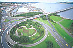Aerial view of Tay Road Bridge, Dundee, Tayside