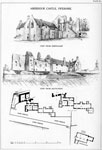 Aberdour Church, Fife - plans of Castle and Plan of Church, with views of Castle