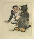 'Dame Rukenaw the She-Ape Counsels Reynard', circa 1896-7 by Joseph Crawhall