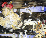 'Cock Escaping from Reynard', circa 1896-7 by Joseph Crawhall
