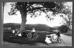 Lady bicyclists, resting, near Newton Stewart 1900
