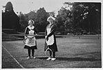 Maidservants playing tennis, Glasserton House, 1920s
