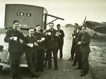 602 Squadron crew at a YMCA tea wagon while at RAF Kenley in 1942