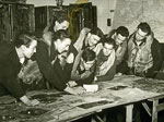 602 Squadron Operations Room briefing for pilots about to depart on a strike over Holland into Germany 1945