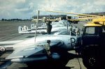 603 Squadron Vampires being refueled prior to a training exercise at the 1955 annual camp