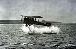 Sopwith Cuckoo naval biplane having released a torpedo during training exercise off the Berwick coast during World War I